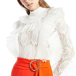 NWT! GRACIA White Lace Ruffle Body Suit